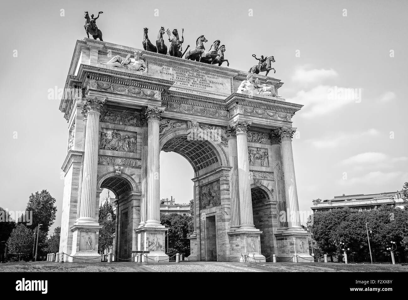 Peace Arch monument symbol triumphal entry into the city of Napoleon III and Victor Emmanuel III. Taken from below, - Stock Image