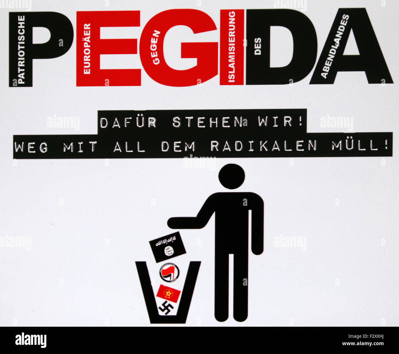das Logo der islamkritischen 'Pegida'-Bewegung, Berlin. - Stock Image