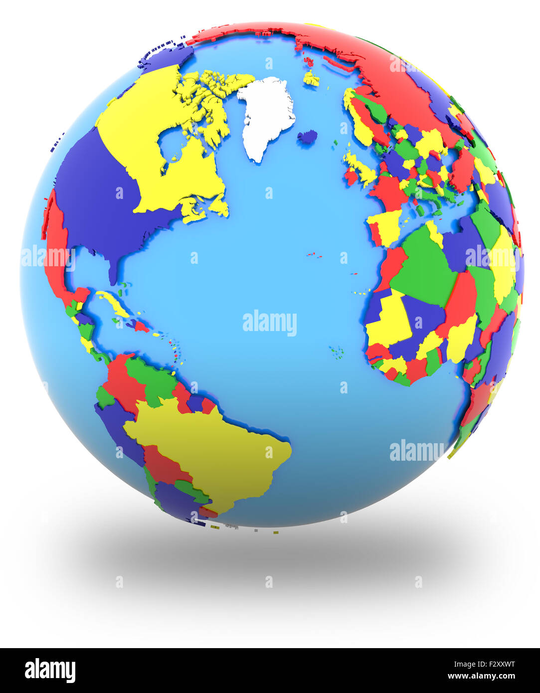 Four hemisphere world map stock photos four hemisphere world map western hemisphere political map of the world with countries in four colours isolated on gumiabroncs Images
