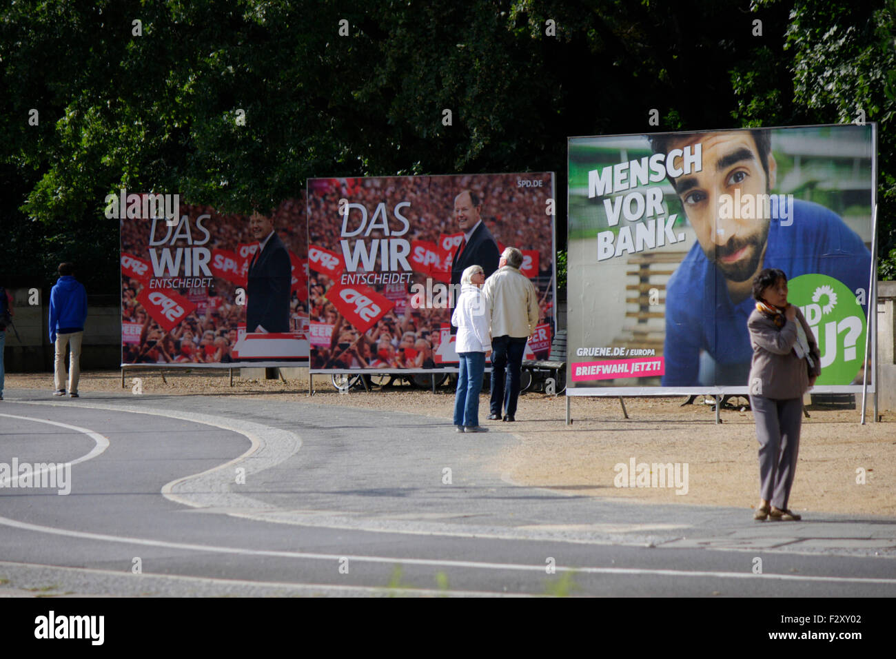 Wahlplakate zur Bundestagswahl 2013: SPD mit Peer Steinbrueck, 13. September 2013, Grosser Stern, Berlin-Tiergarten. Stock Photo