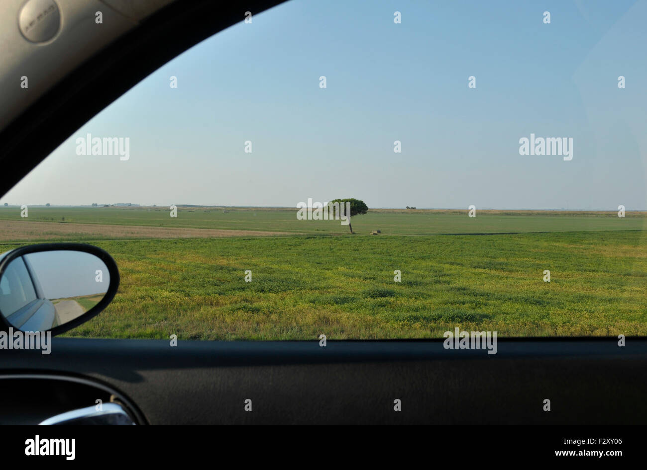 Landscape and car window - Stock Image