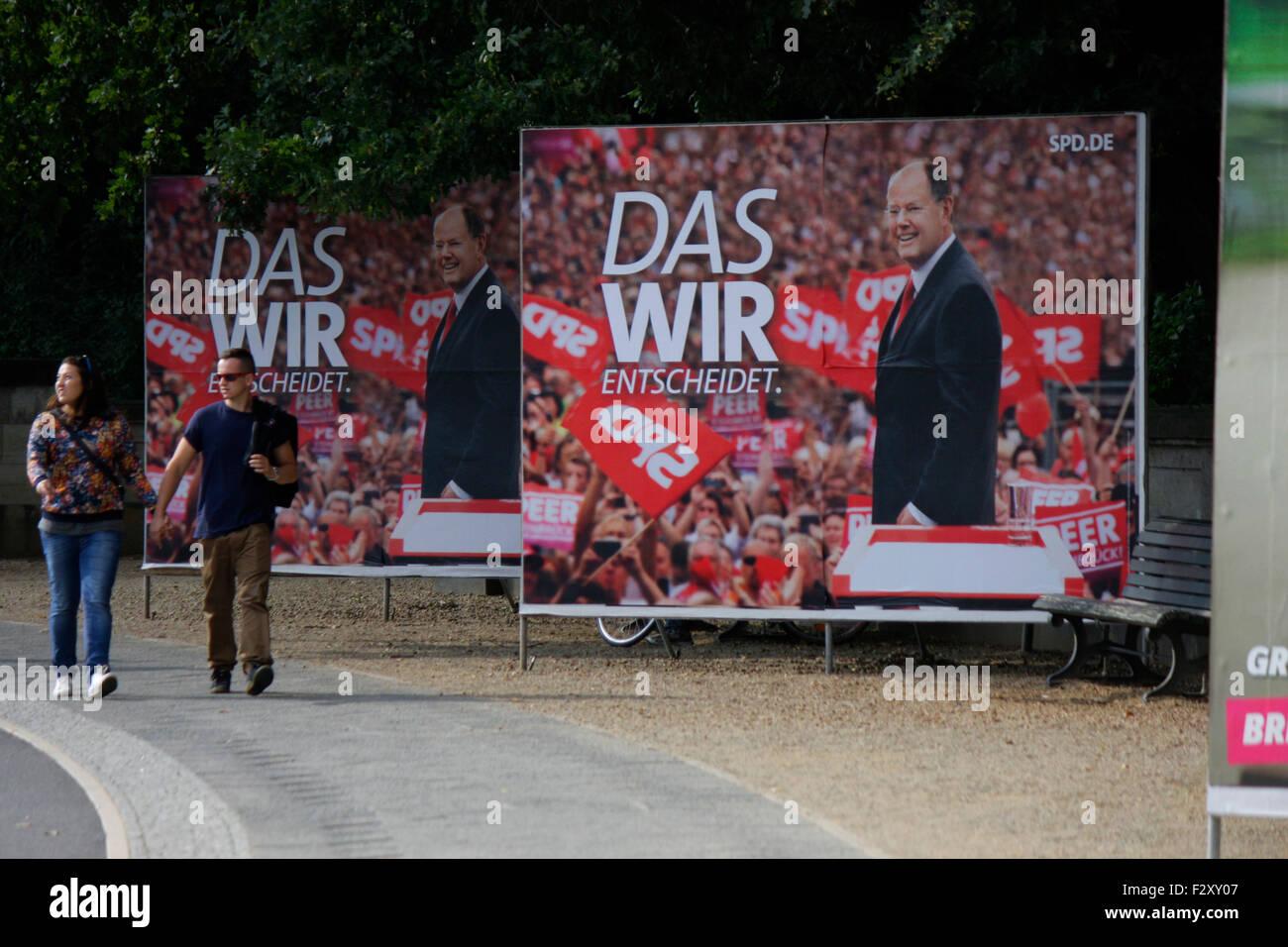 Wahlplakate zur Bundestagswahl 2013: SPD mit Peer Steinbrueck, 13. September 2013, Grosser Stern, Berlin-Tiergarten - Stock Image