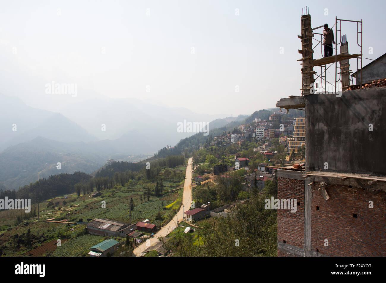 Hotel under construction in Sapa Vietnam - Stock Image