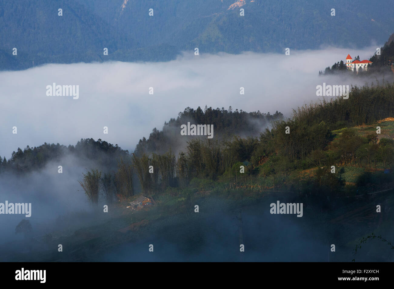 View on Sapa town, Northern Vietnam - Stock Image