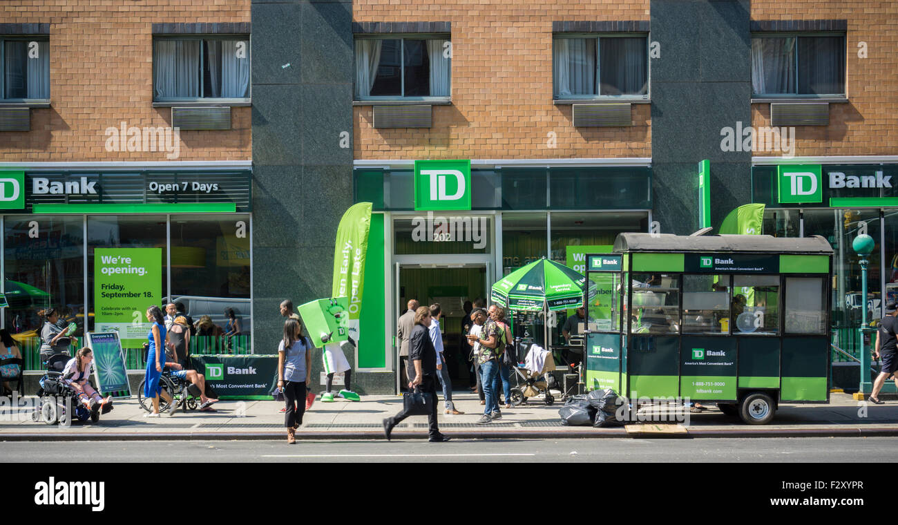 TD Bank sponsored festivities at the grand opening of a new branch in the Chelsea neighborhood of New York on Friday, - Stock Image