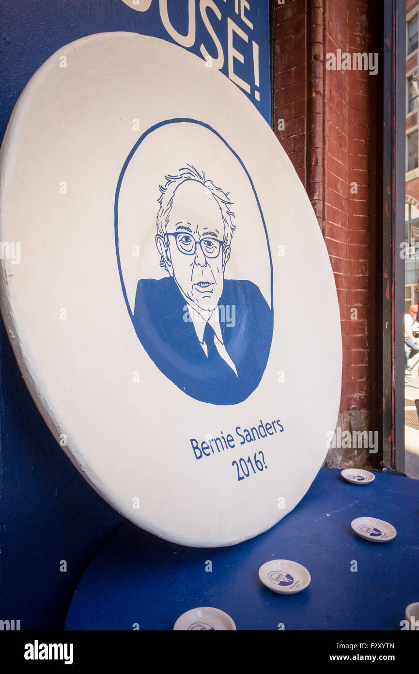 A window display at the Fishs Eddy housewares store in New York celebrates U.S. Presidential Candidate Bernie Sanders. Stock Photo