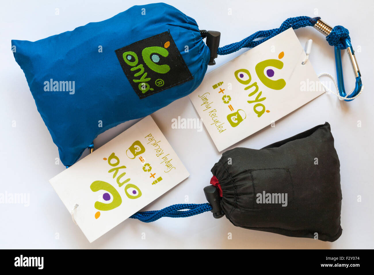 Onya simply recycled bags in pouches and labels - made from rPET Recycled Plastic Bottles - Stock Image