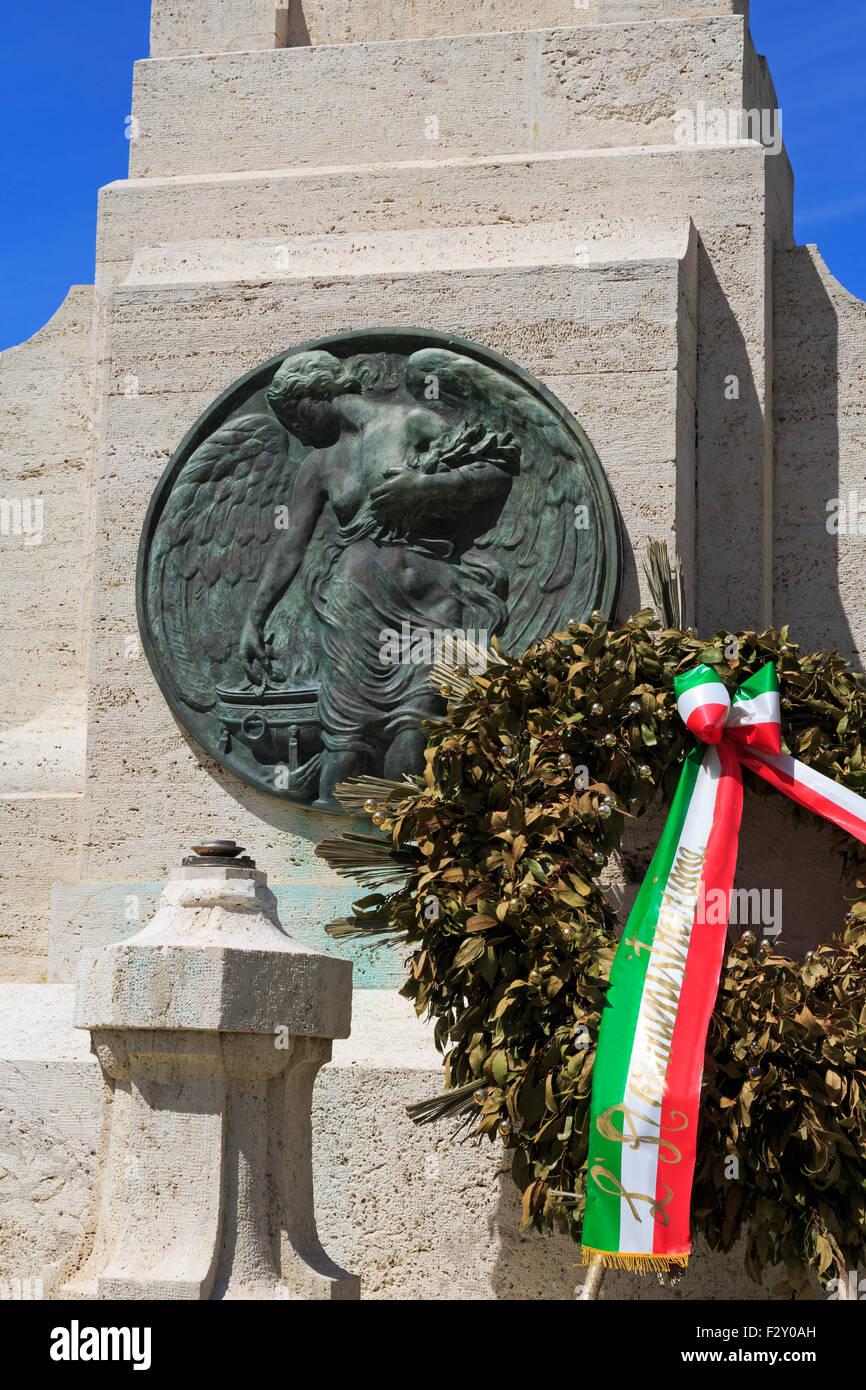 Patriots Monument, Piazza Giovanni Battista Grassi, Port of Fiumicino, Rome, Italy, Europe - Stock Image