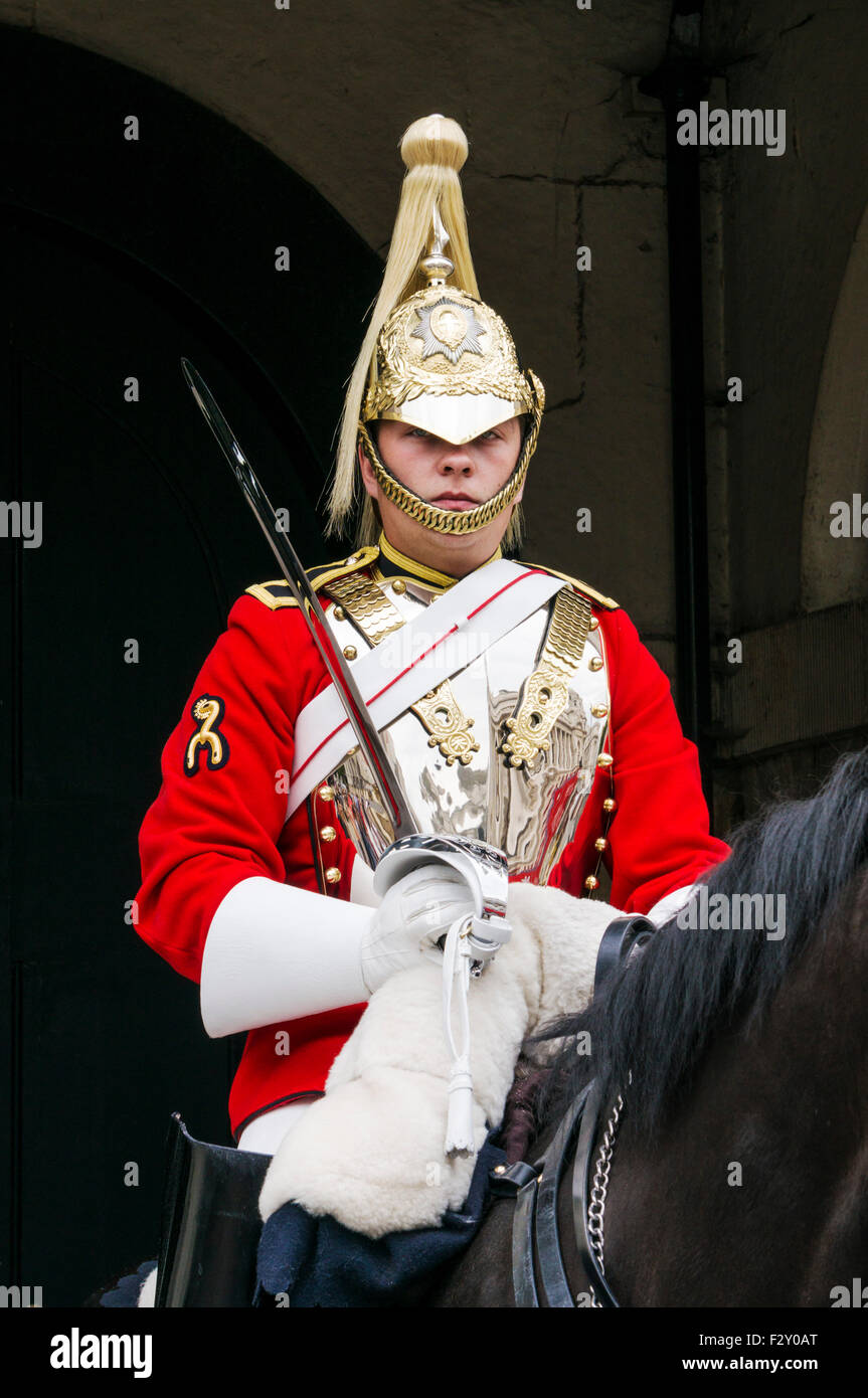 Mounted guard from the household cavalry outside The Household Cavalry Museum Horse Guards Parade Whitehall, London - Stock Image
