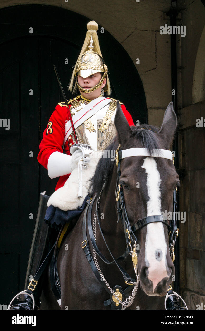 Mounted Horse guard from household cavalry outside The Household Cavalry Museum Horse Guards Parade Whitehall, London Stock Photo