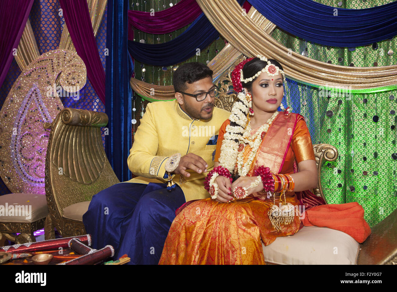 Bangladeshi Wedding Bride And Groom At Their Reception In Stock