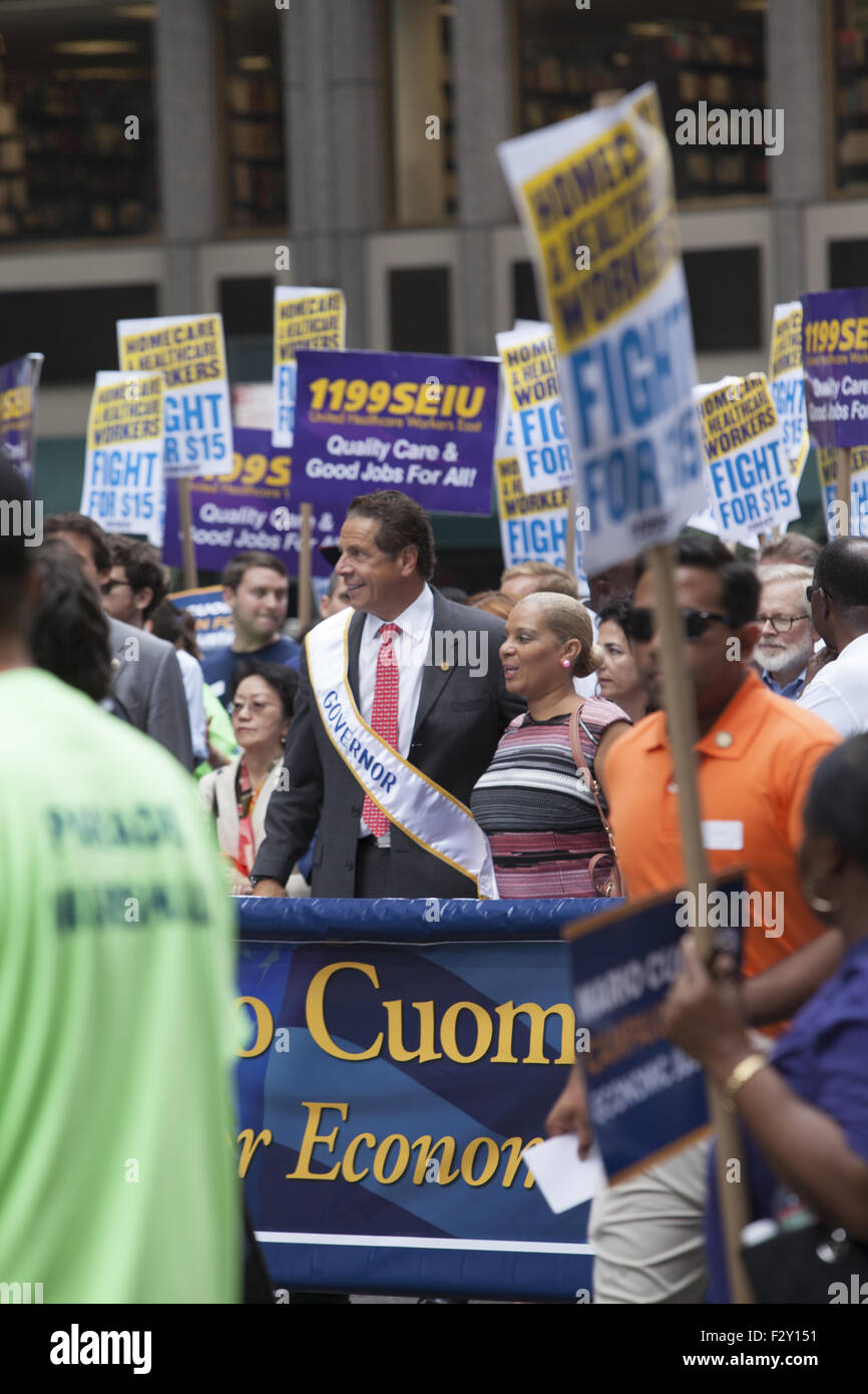 Gov. Andrew Cuomo marches in the Labor Day Parade up 5th Avenue in New York City. - Stock Image