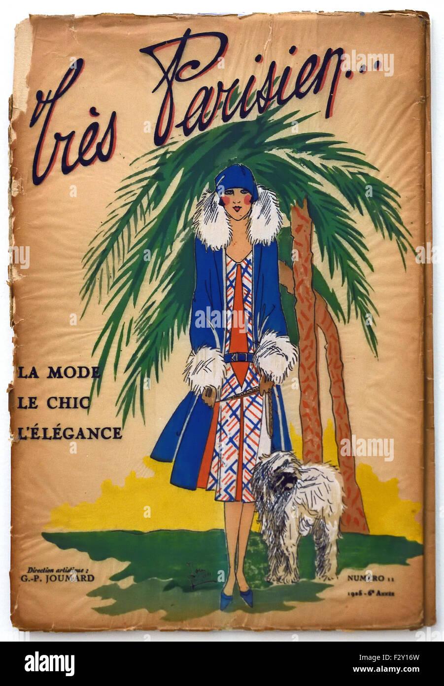 Tres Parisian 1916 French Paris fashion couture designer clothes art - Stock Image