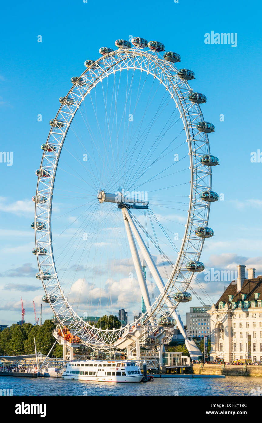 The London Eye is a big ferris wheel carousel on the South Bank of the River Thames London England GB UK EU Europe - Stock Image