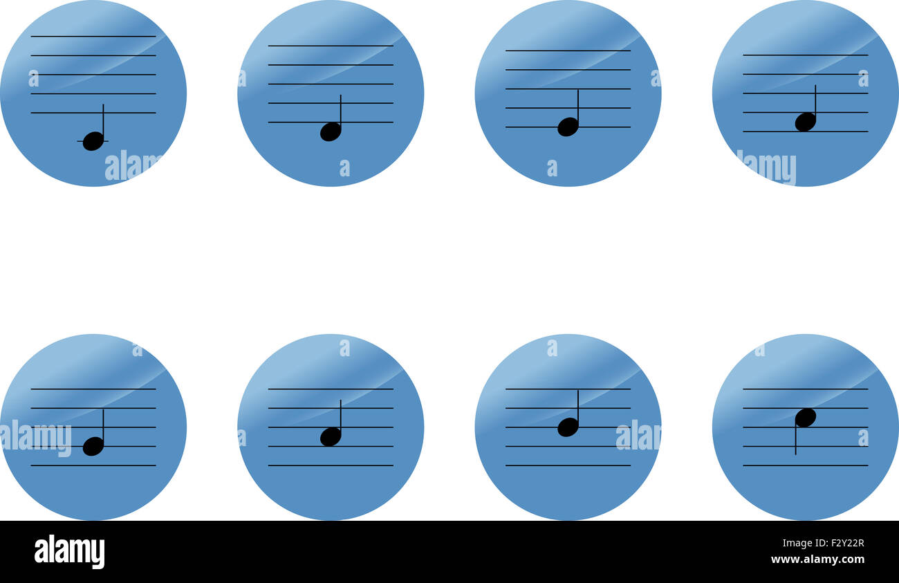 Set of music notes icons  do re mi sol la si  Vector illustration
