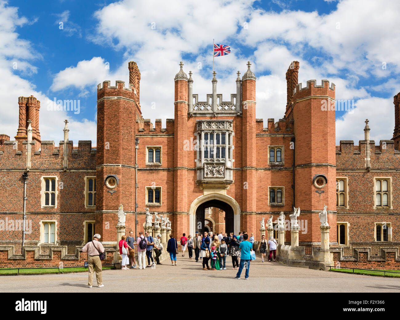 The West Front and Main Entrance to Hampton Court Palace, Richmond upon Thames, London, England, UK - Stock Image