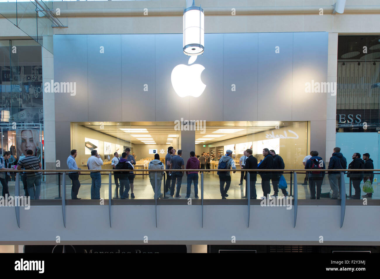 Apple fans queue for the new iPhone the iPhone 6s and iPhone 6s plus at the Apple store in St. David's, Cardiff, Stock Photo