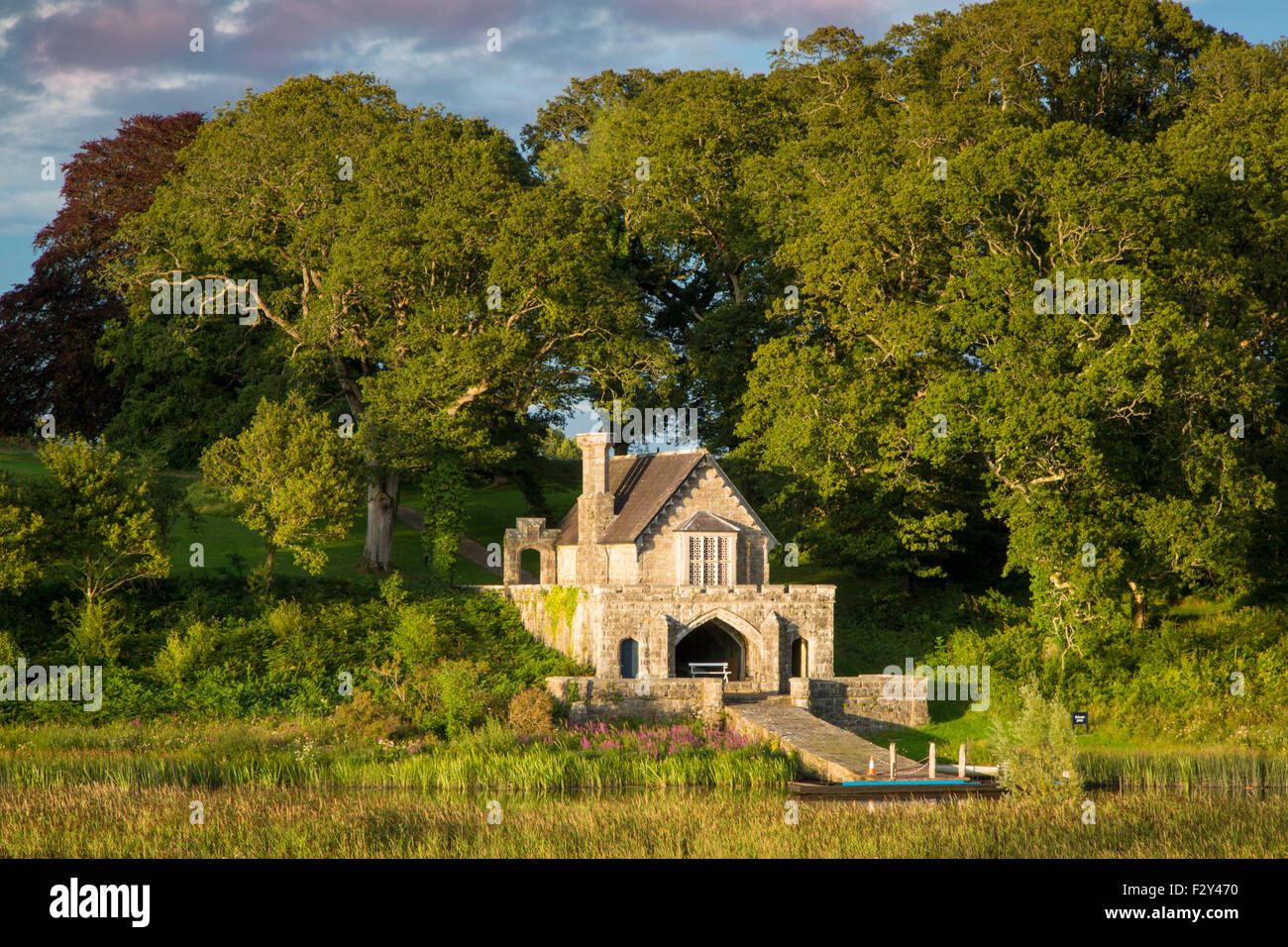 Crom Castle Boathouse along Upper Lough Erne, Northern Ireland, UK - Stock Image