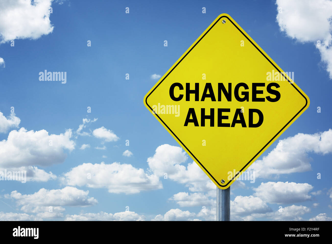 Changes ahead road sign - Stock Image