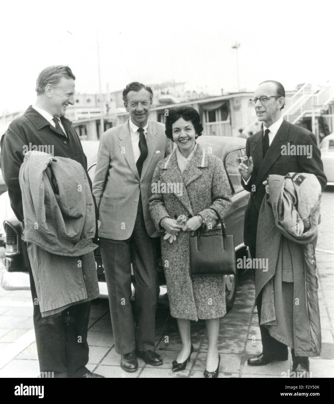 BENJAMIN BRITTEN English composer about 1965 facing camera with from left Peter Pears, Maria Curcio (poiano teacher) - Stock Image