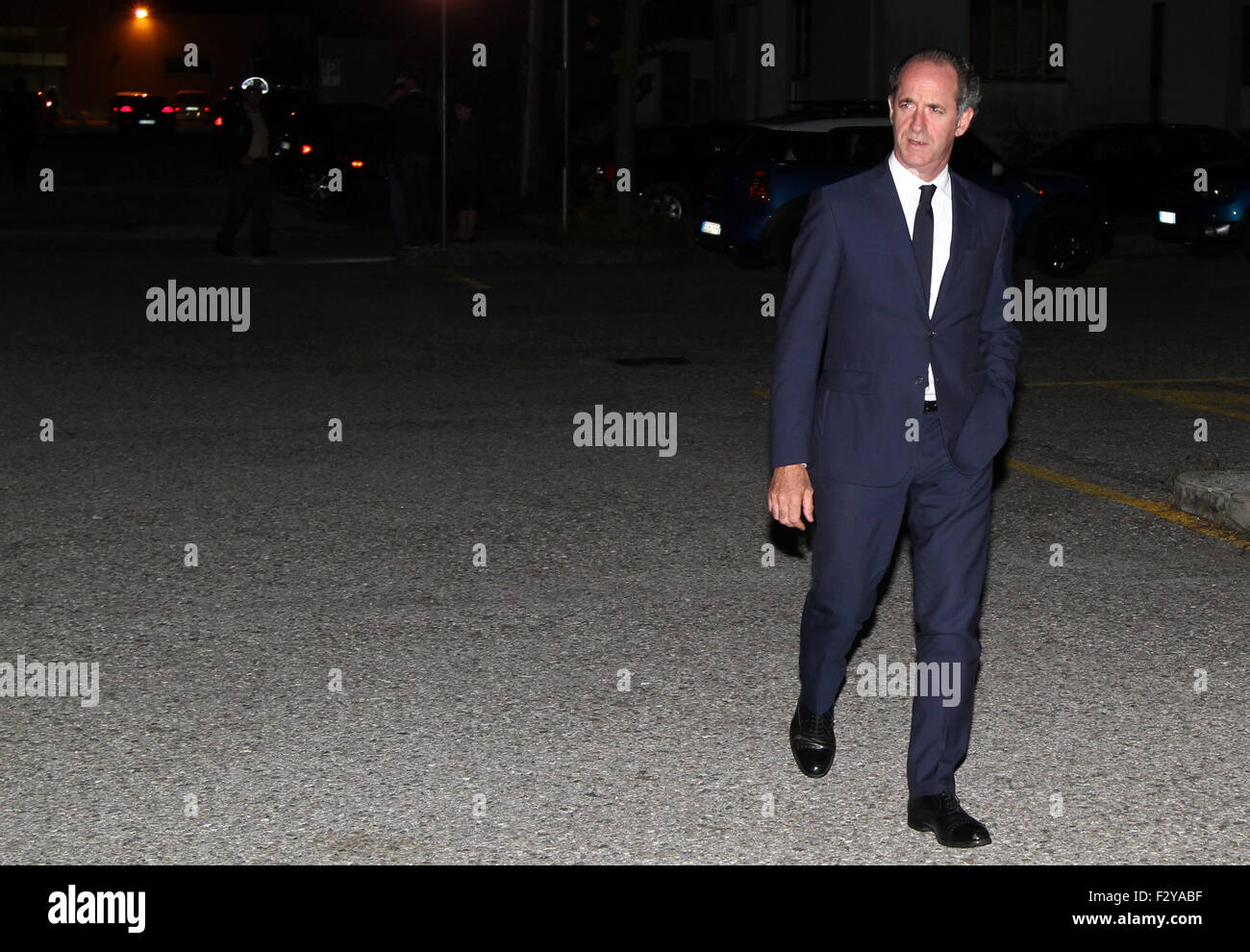Pordenone, Italy. 25th Sep, 2015.  Luca Zaia, president of the Veneto Region attends at Lega Nord party (Northern - Stock Image