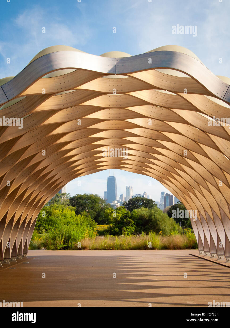 A view of the John Hancock Center as seen through the People's Gas Education Pavilion in Lincoln Park, Chicago. - Stock Image
