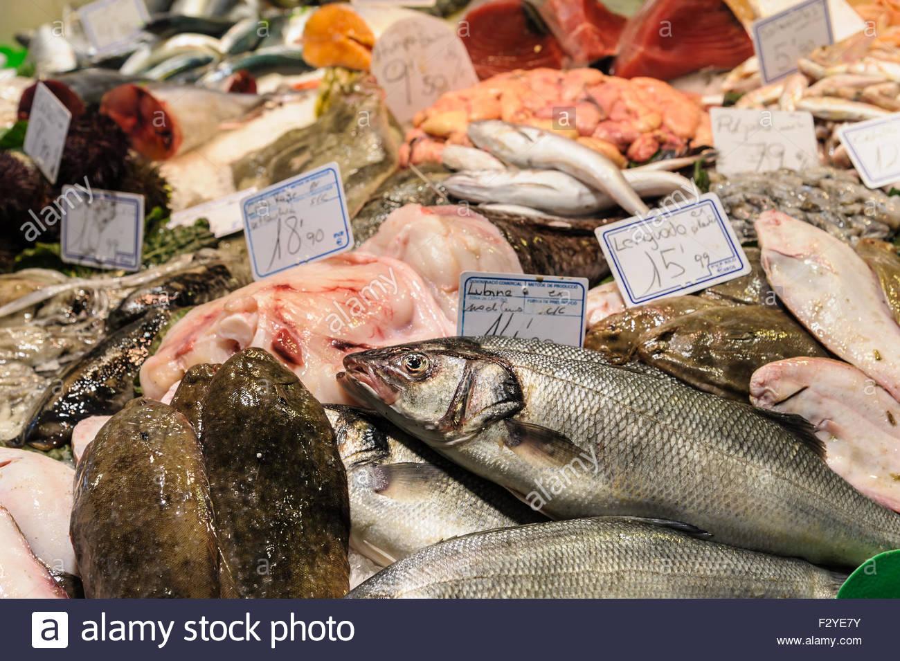 BARCELONA, SPAIN - MARCH 12, 2012: Fish and seafood on sale in Sant Josep de la Boqueria Market.  This market is - Stock Image