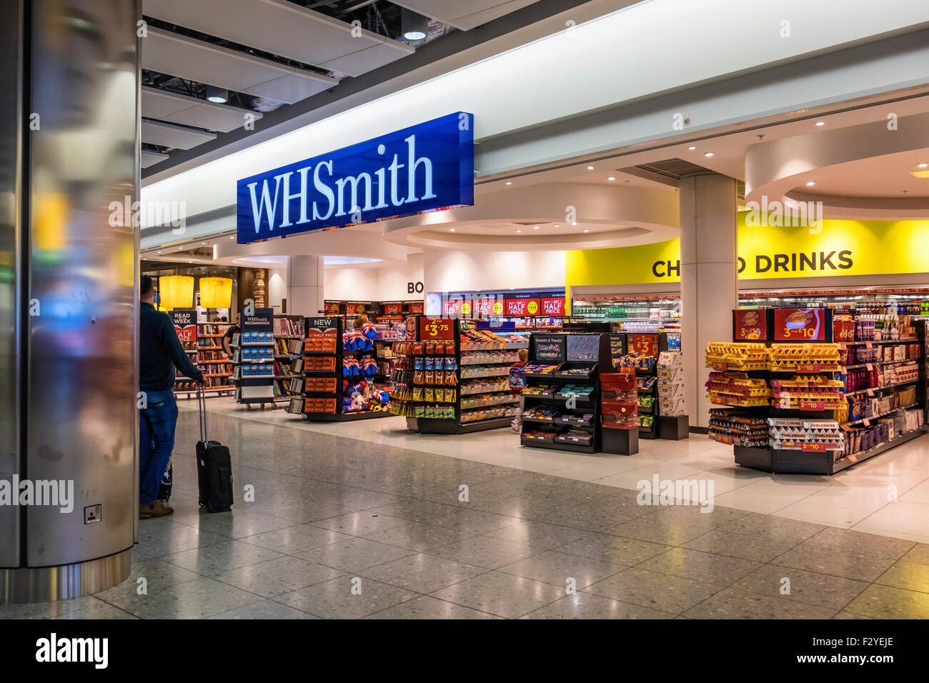 London Heathrow Airport Terminal 2, Queen Elizabeth Terminal T2, W H Smith bookshop in the Departures Hall - Stock Image