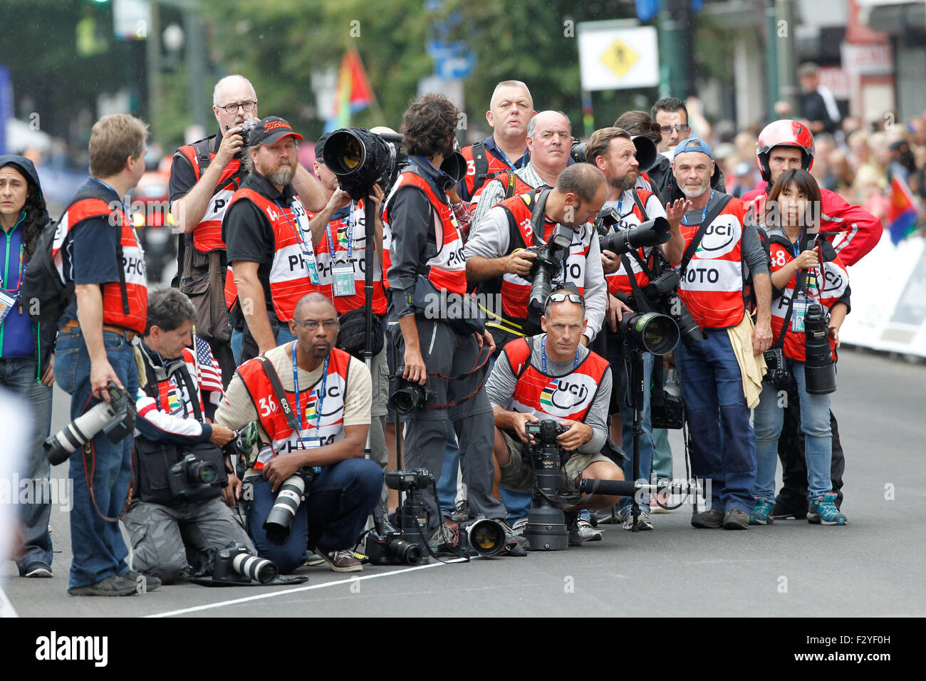 RICHMOND, VIRGINIA, 25 Sept., 2015. Photographers line up to photograph the finish of the UCI Road World Championships - Stock Image