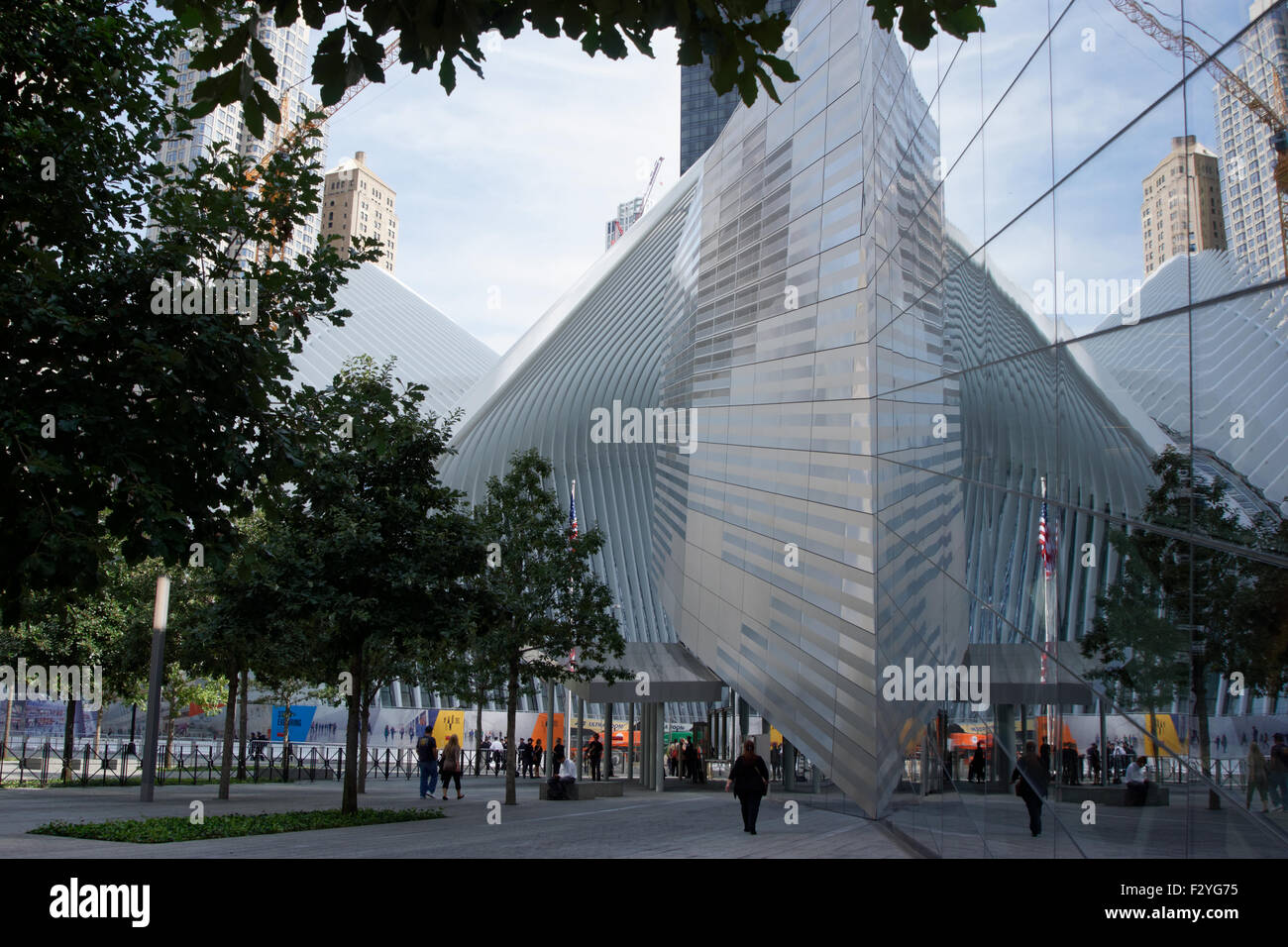 The transportation hub designed by Calatrava is reflected in the National September 11 Museum in Lower Manhattan, - Stock Image