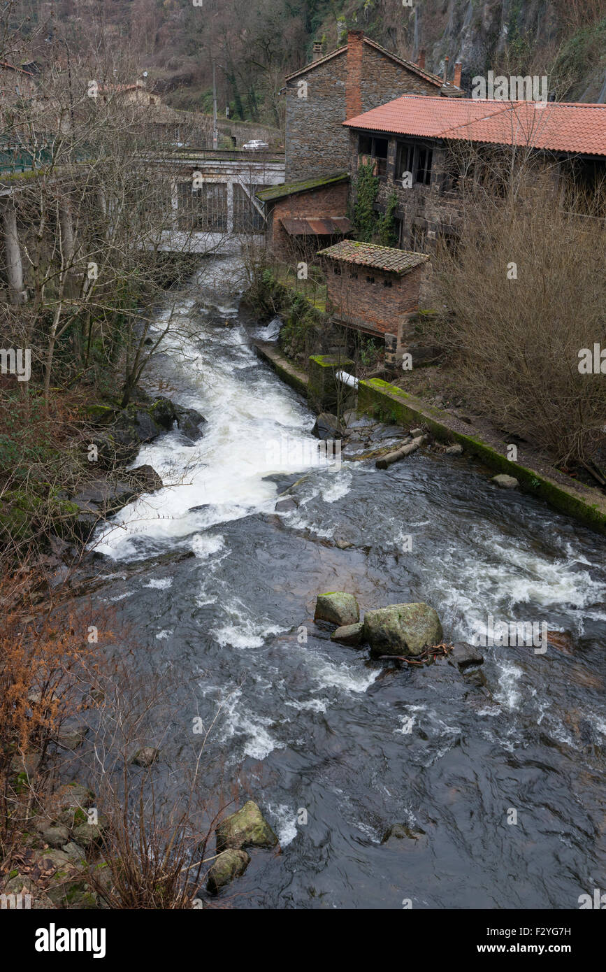 Site of the factories Valley, on the river La Durolle in the town of Thiers, Auvergne France. - Stock Image