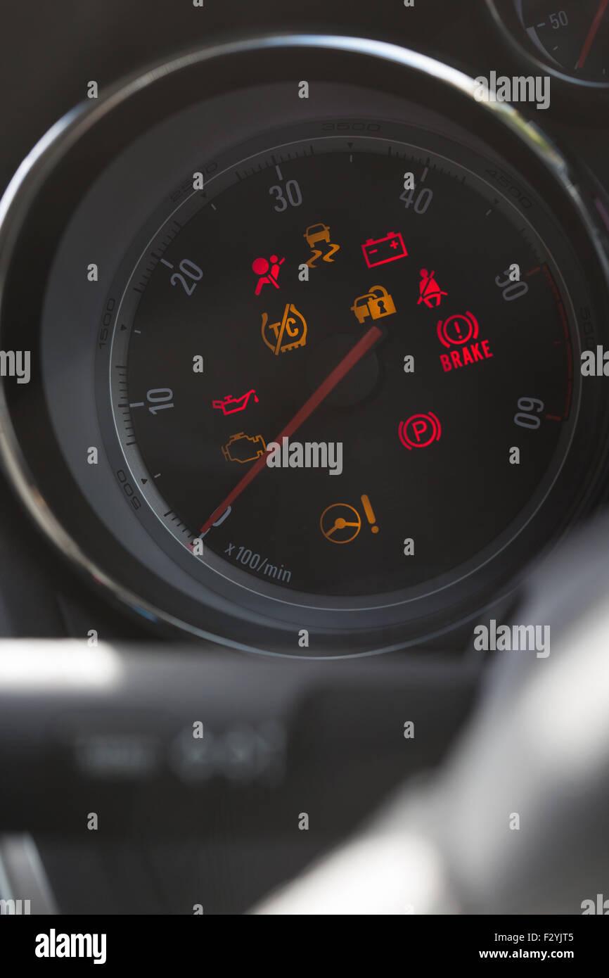 instrument gauge in vauxhall car - Stock Image