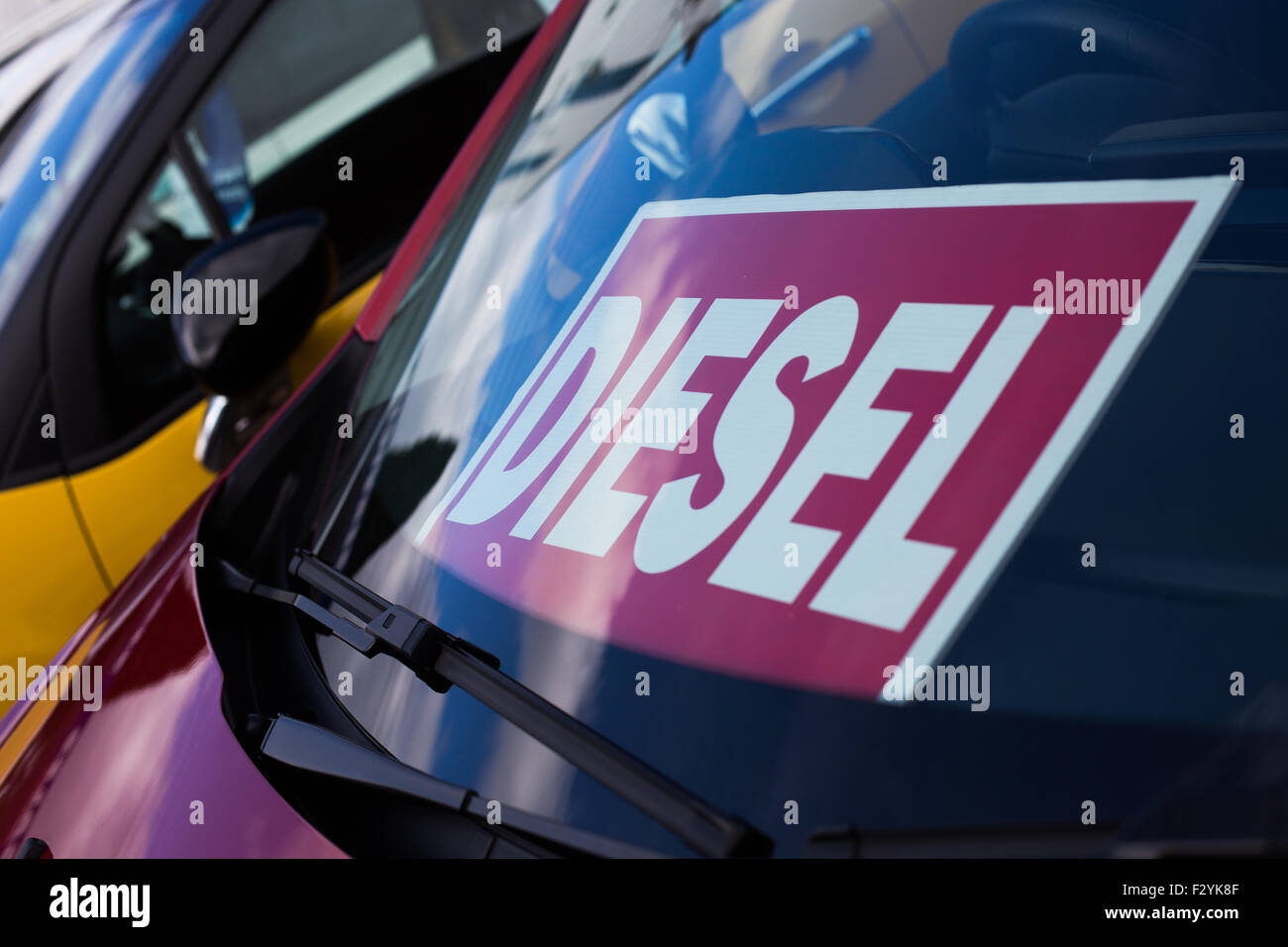 diesel sign in window of for sale car - Stock Image