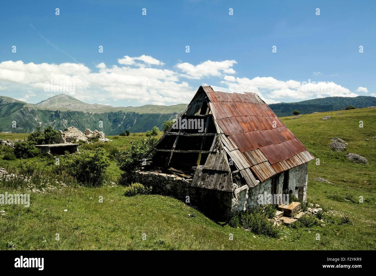 Damaged house in mountain village Blace (Konjic). - Stock Image