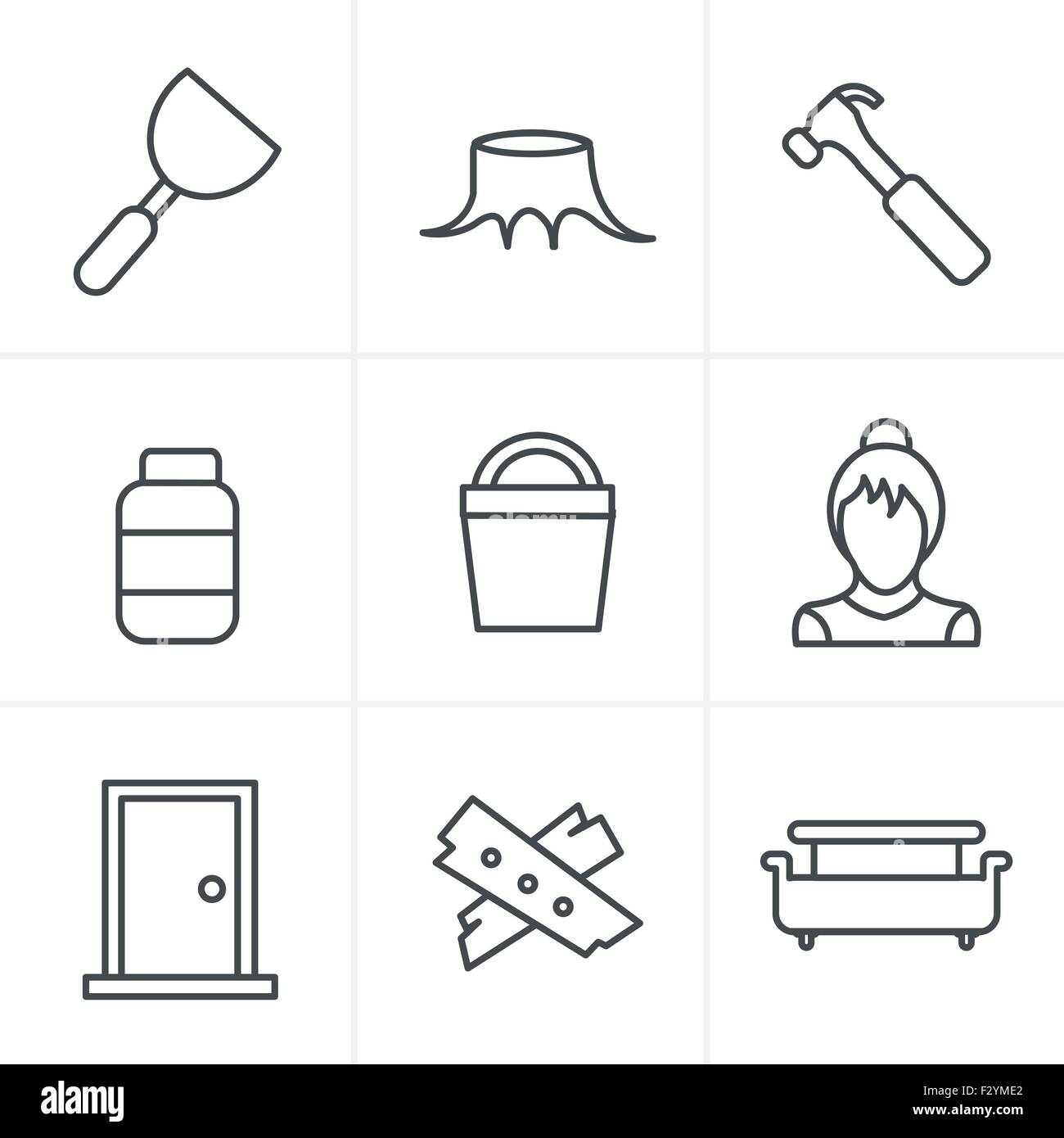 Line Icons Style  Icons set carpentry - Stock Vector