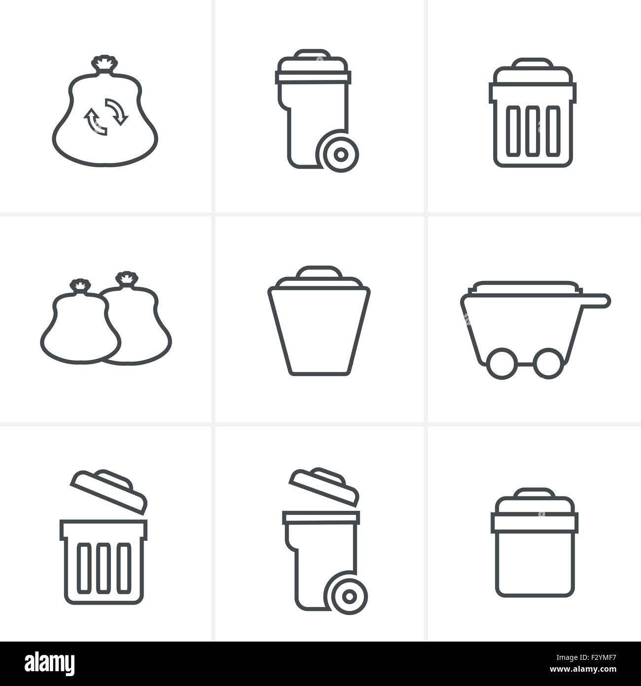 Line Icons Style  Garbage Icons - Stock Vector