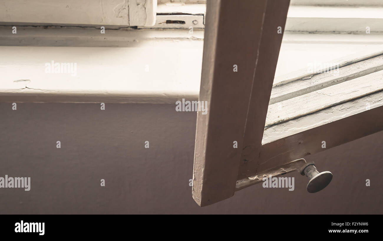 Details of an opened wooden window, home interior objects. - Stock Image