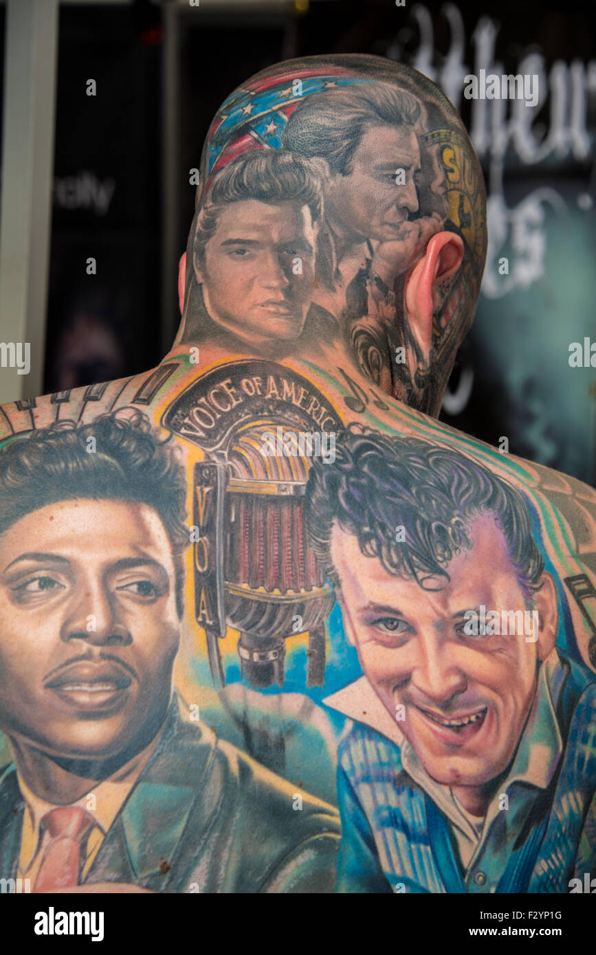 London, UK. 26th Sep, 2015. The 11th International London Tattoo Convention on 26th September 2015 at Tobacco Dock, - Stock Image