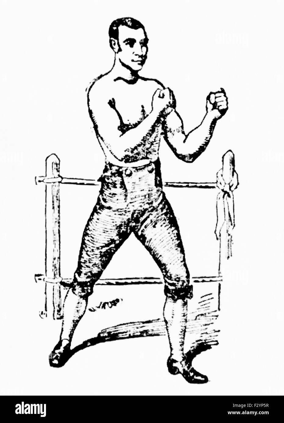 Vintage newspaper portrait of bare-knuckle boxer Yankee Sullivan (c1811 - 1856) - self-proclaimed heavyweight Champion - Stock Image