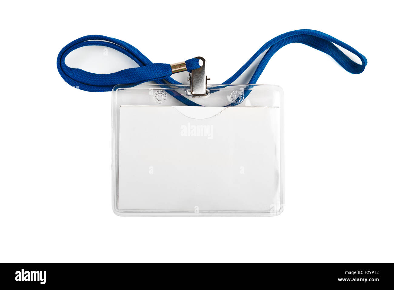 Badge identification white blank plastic id card  isolated - Stock Image