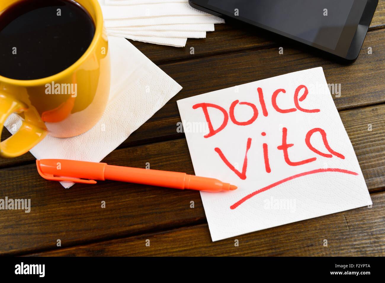 napkin sketch 'dolce vita' on cafe napkin - Stock Image
