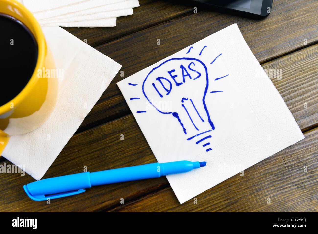 napkin sketch light bulb Ideas - Stock Image