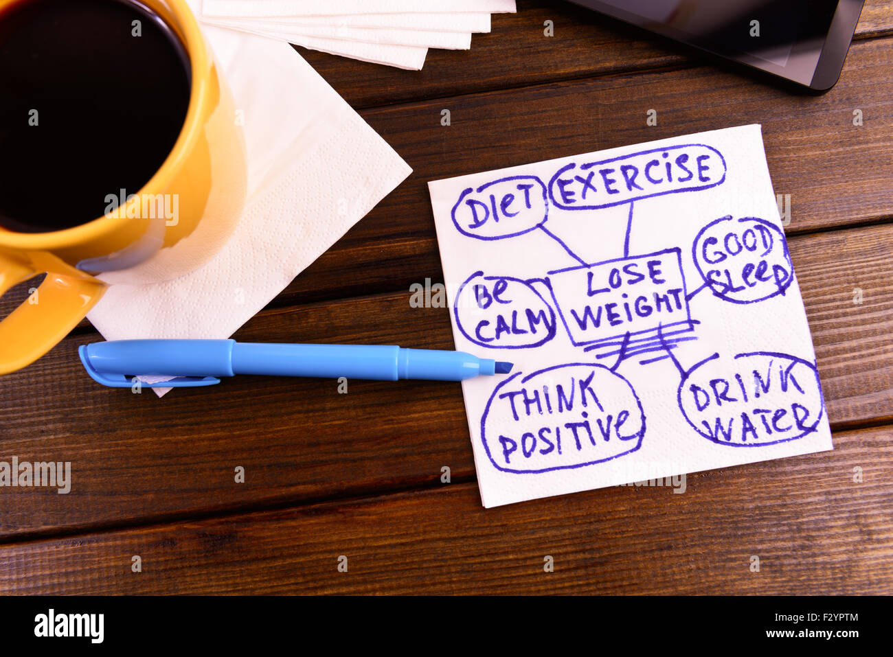 napkin sketch 'lose weight' good health diet exercise - Stock Image