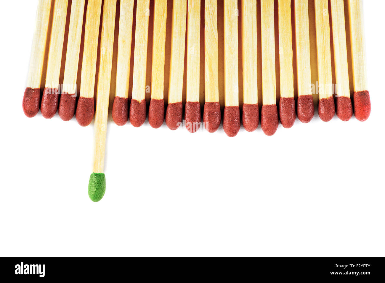 Green matchstick leadership concept isolated on white - Stock Image