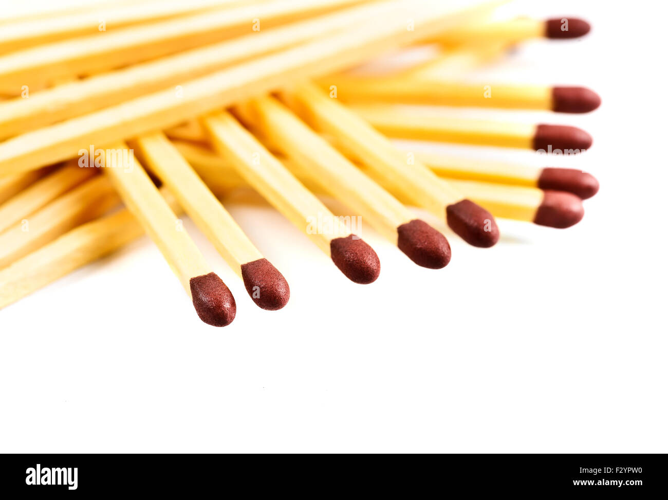 Pile of matches isolated on white - Stock Image