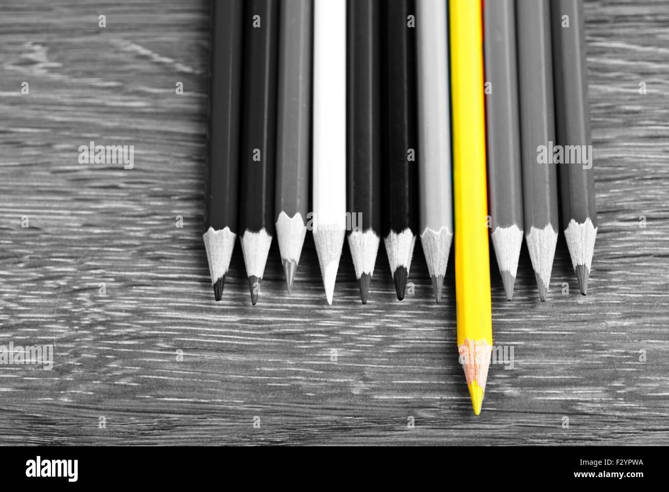 Single colored pencil  leadership concept - Stock Image