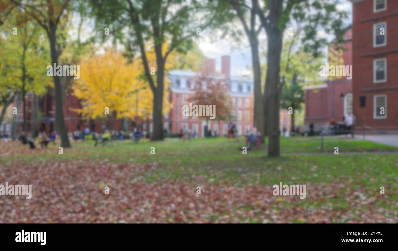Blurred background of Harvard Yard on a beautiful Fall day in Cambridge, MA, USA. - Stock Image