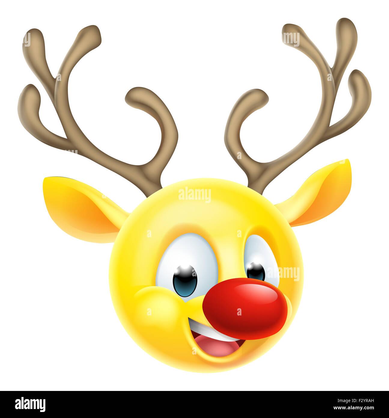 Cartoon Santas Christmas reindeer emoticon emoji character - Stock Image