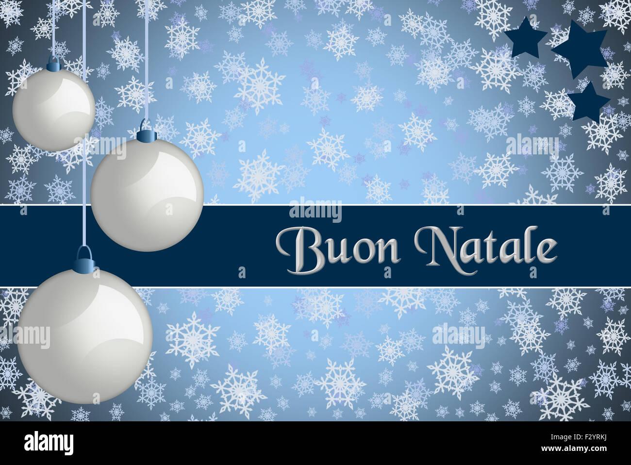 Buon Natale Ornament.Christmas Greeting Card Buon Natale Blue Colored Christmas Card