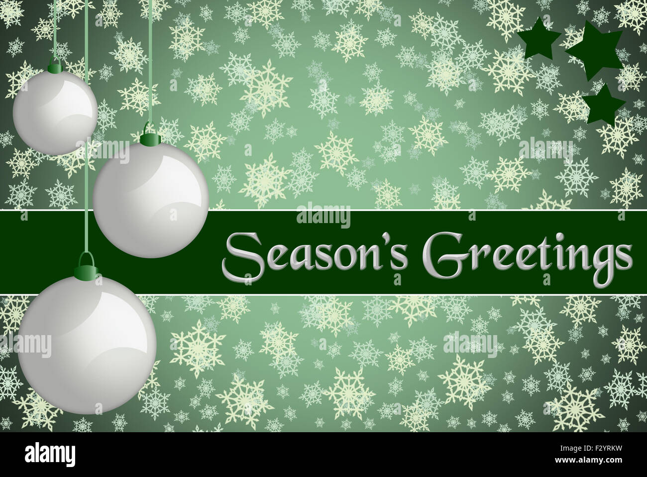 Christmas Greeting Card Seasons Greetings Green Colored